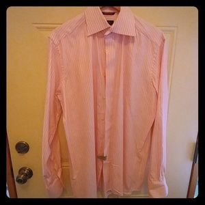 Eaton pink dress shirt with white vertical strips